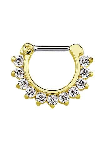 Adelia´s Nasenpiercing »Septum Clicker Nasenpiercing Gold, 11 klare Steine«, mit 316l... kaufen