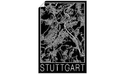 Artland Wandbild »Retro Karte Stuttgart Schwarz« kaufen