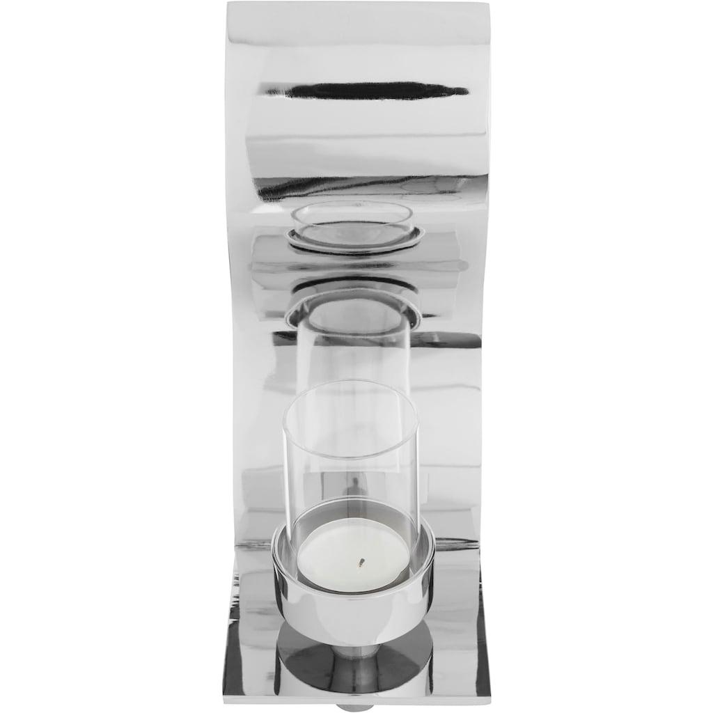 Fink Wandkerzenhalter »WAVE, silberfarben«, Kerzen-Wandleuchter, Kerzenhalter, Kerzenleuchter hängend, Wanddeko, handgefertigt, aus Metall, verschiedene Größen erhältlich, Wohnzimmer