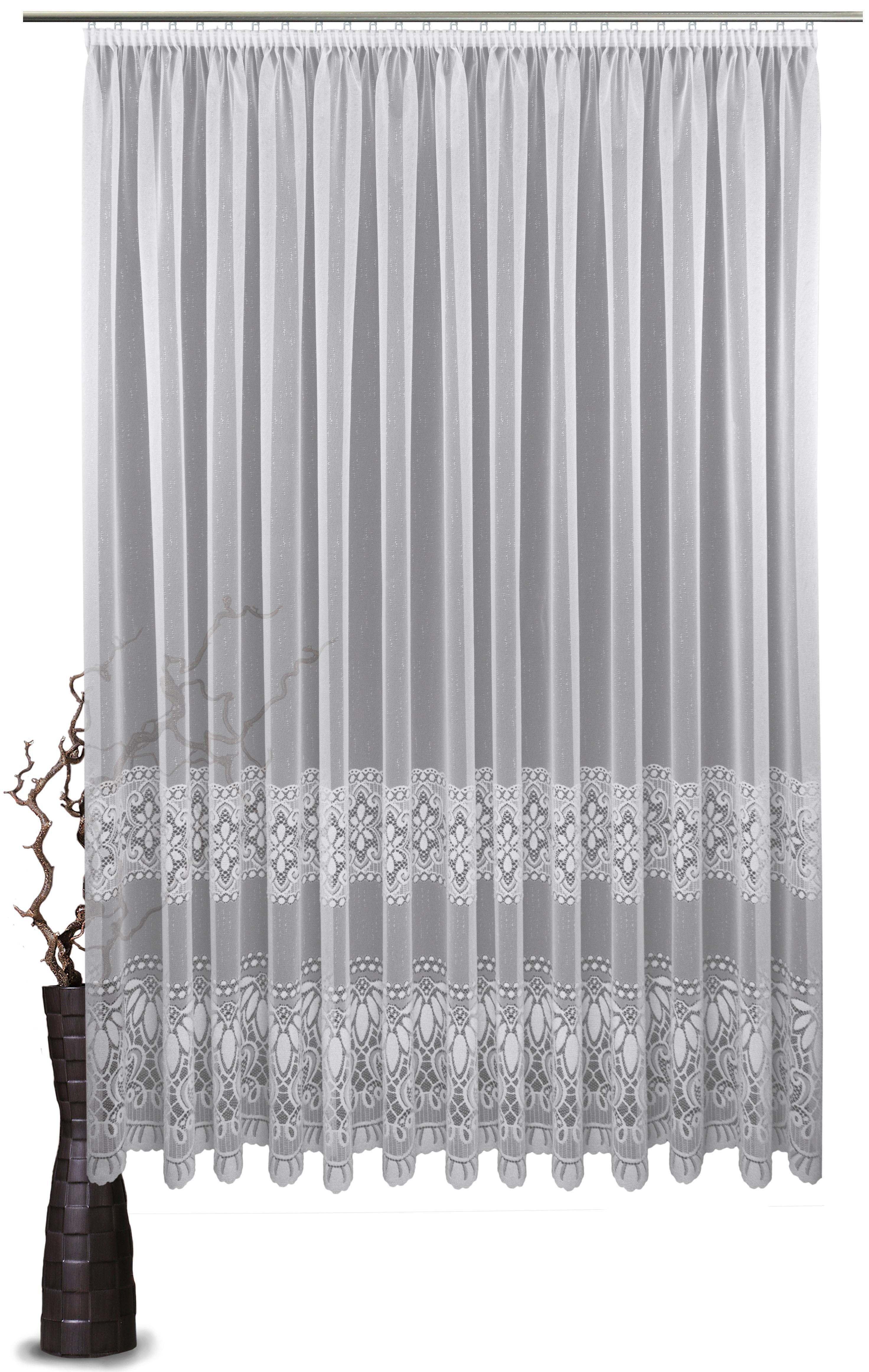 Gardine VHG Ava mit Kräuselband nach Maß mit Ornamentstreifen