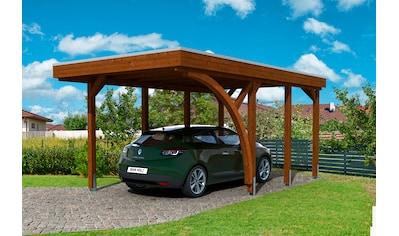 SKANHOLZ Set: Einzelcarport »Friesland 5«, BxT: 314x555 cm, nussbaum kaufen