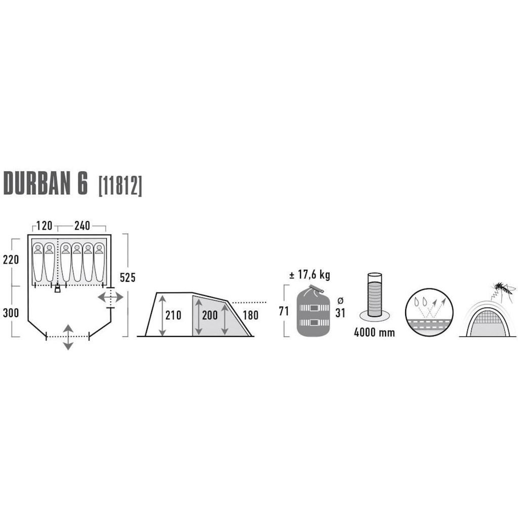 High Peak Tunnelzelt »Durban 6«, 6 Personen (mit Transporttasche)