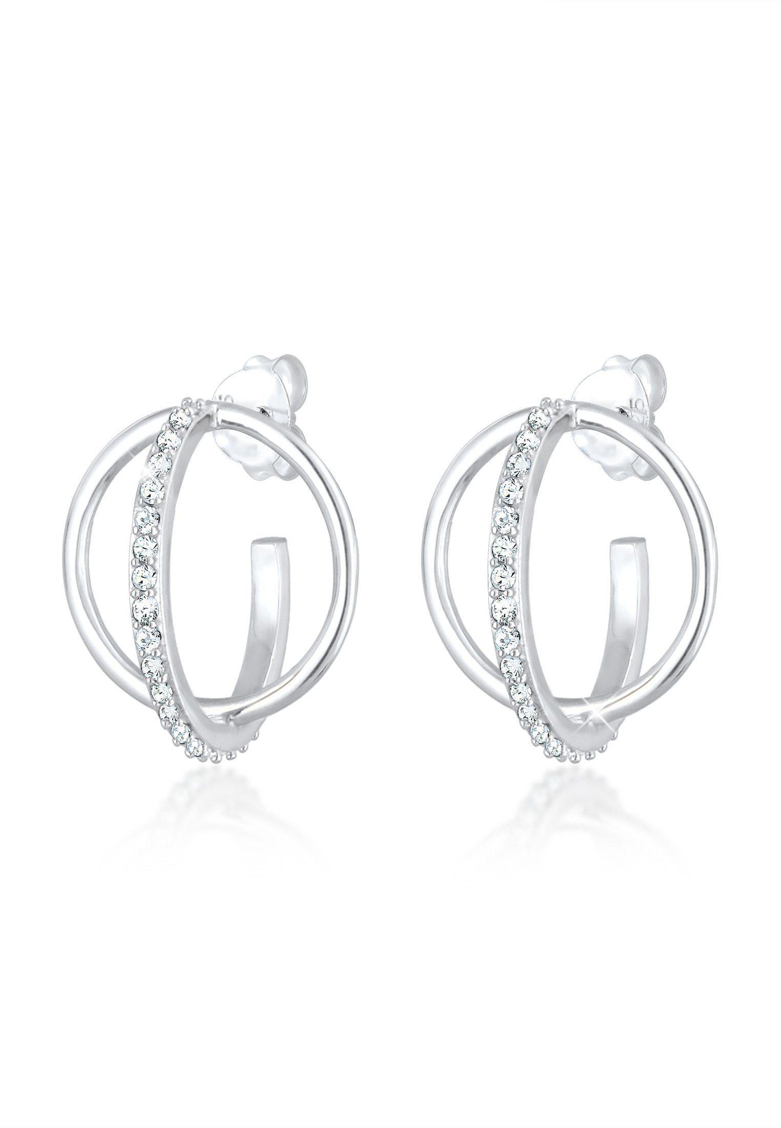 Elli Paar Creolen Creole 3D Geo Swarovski Kristalle 925er Silber Preisvergleich