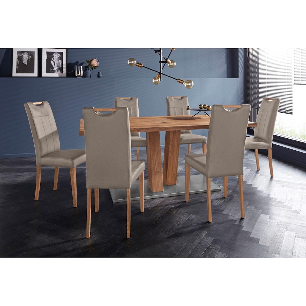 Home affaire 4-Fußstuhl »Roberta«, mit Bezug aus Echtleder und Gestell aus Eiche Massivholz