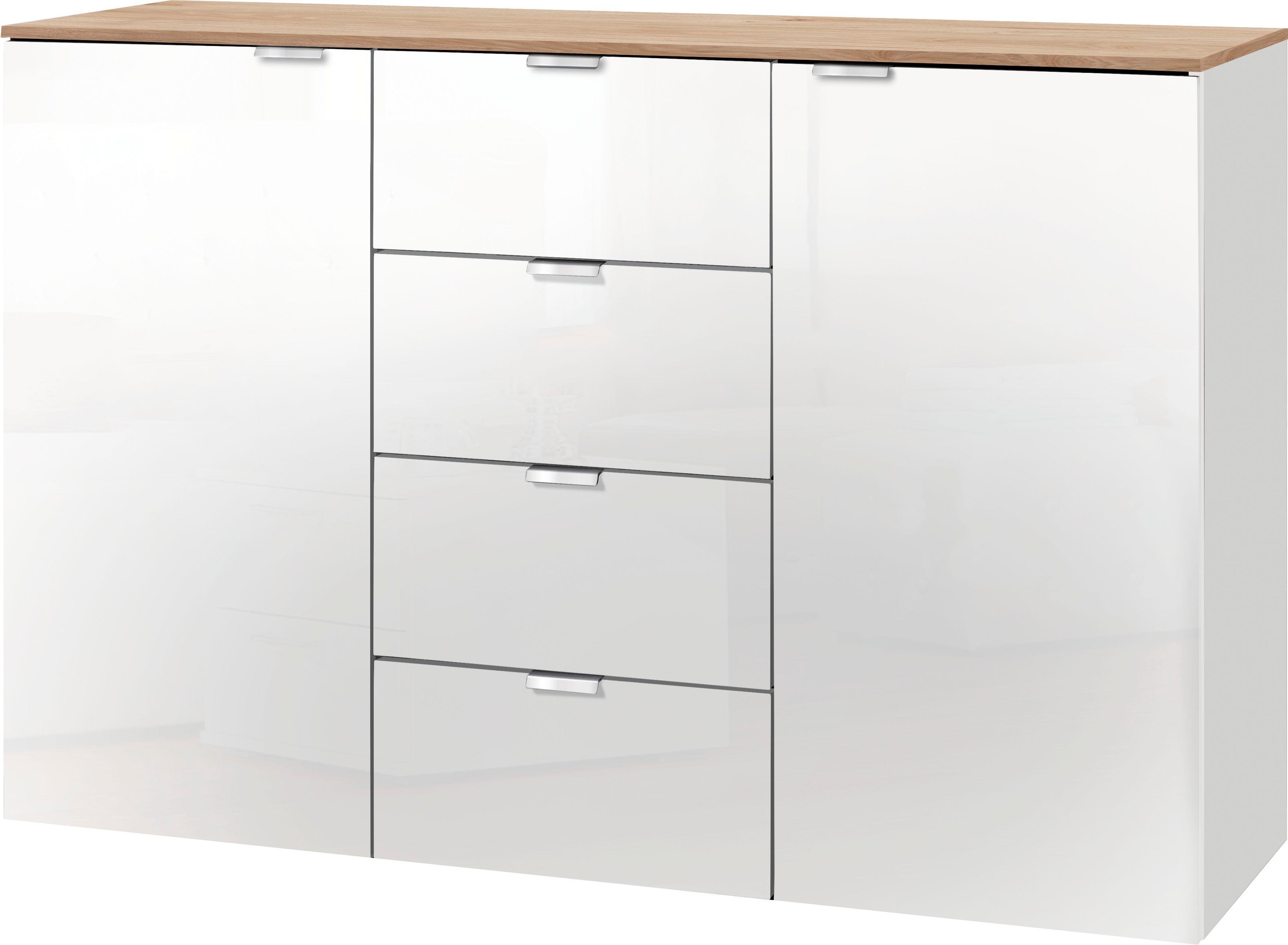 Set One By Musterring Kommode Fontana Mit Weissglas Breite 130 Cm Bestellen Baur