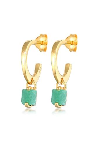 Elli Paar Creolen »Creolen Stecker Jade Pyramide 925 Silber vergoldet« kaufen