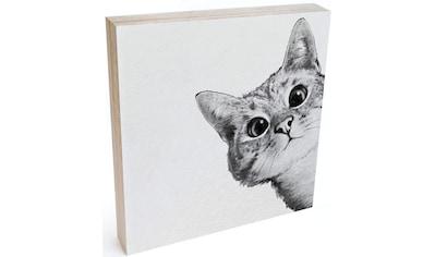 Wall-Art Holzbild »Tischdeko Katze Holzdeko«, (1 St.) kaufen