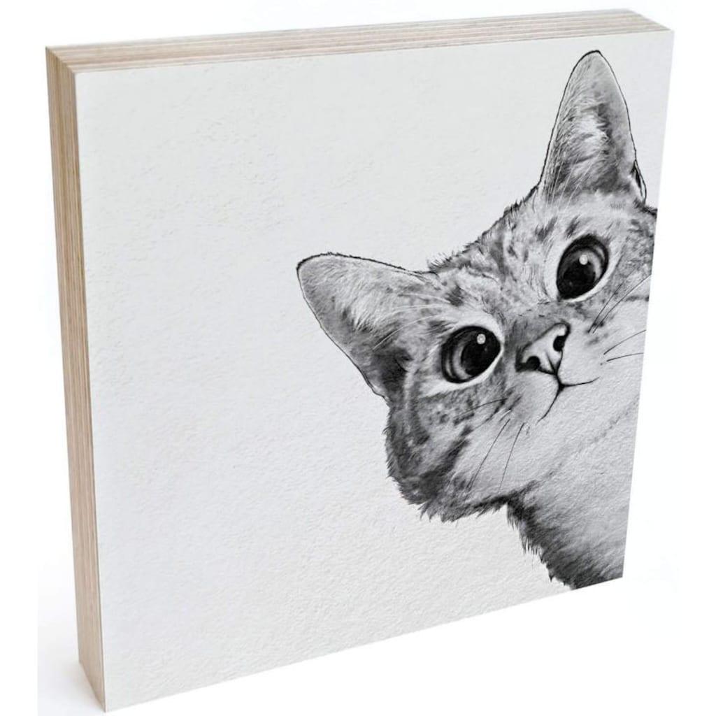 Wall-Art Holzbild »Tischdeko Katze Holzdeko«, (1 St.)
