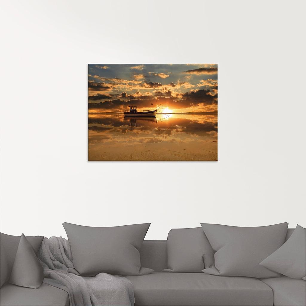 Artland Glasbild »Das Fischerboot im Sonnenuntergang«, Boote & Schiffe, (1 St.)