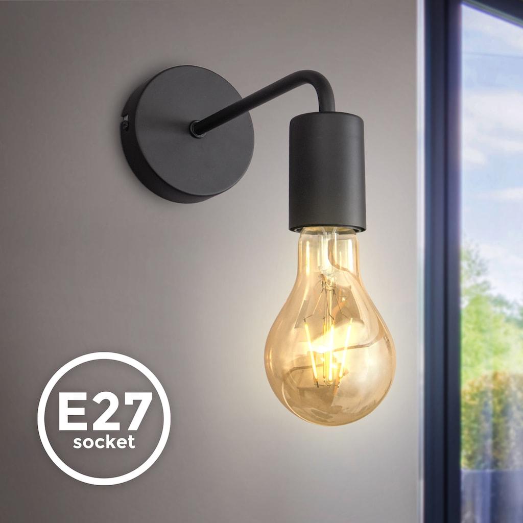 B.K.Licht Wandleuchte, E27, 1 St., Wandlampe, 1 flammige Vintage Lampe, Industrial Design, Retro Lampe, Stahl, Rund, E27, ohne Leuchtmittel