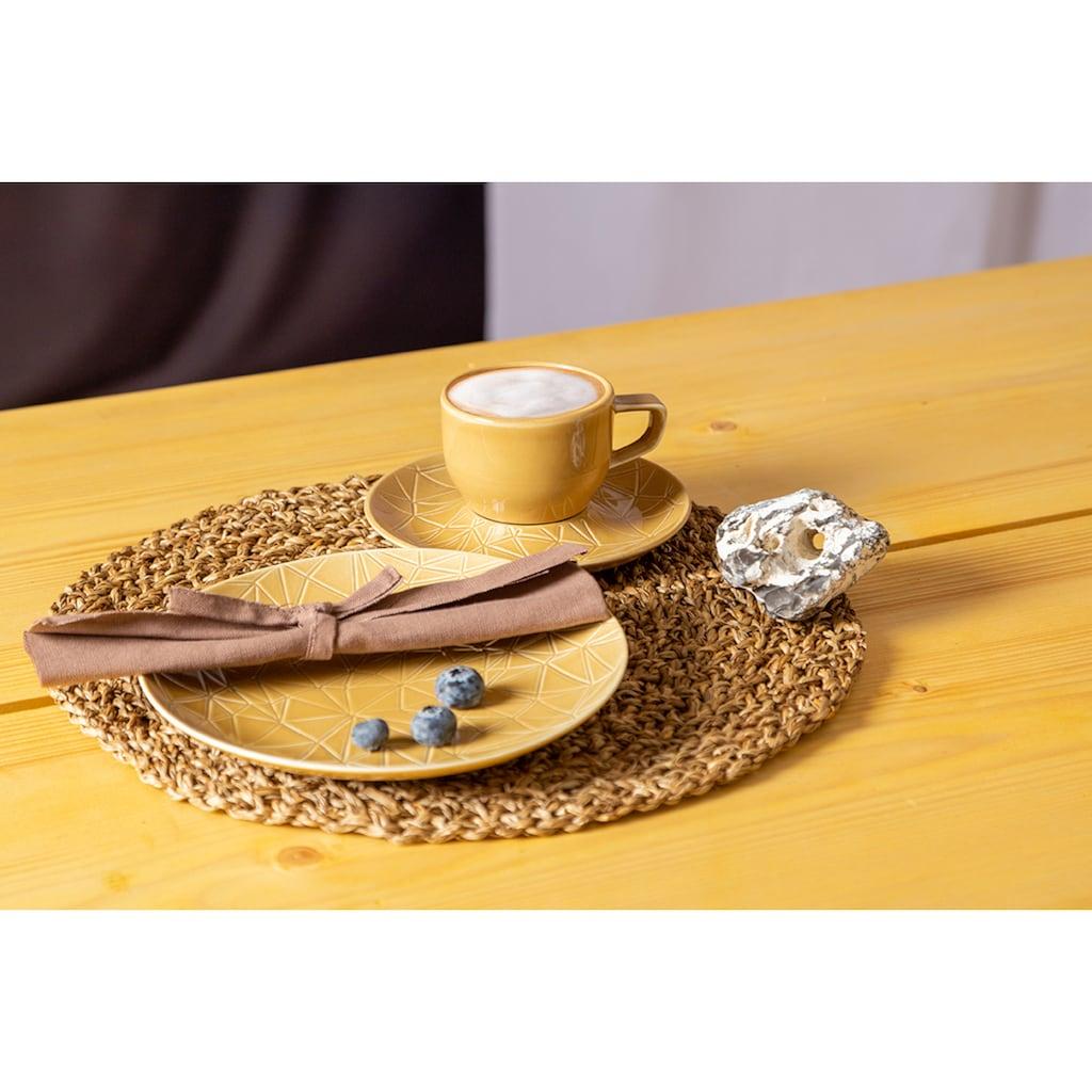 Eschenbach Kaffeeservice »Kaleido«, (Set, 18 tlg.), von Hand aufgebrachte Farbglasur, spülmaschinenfest