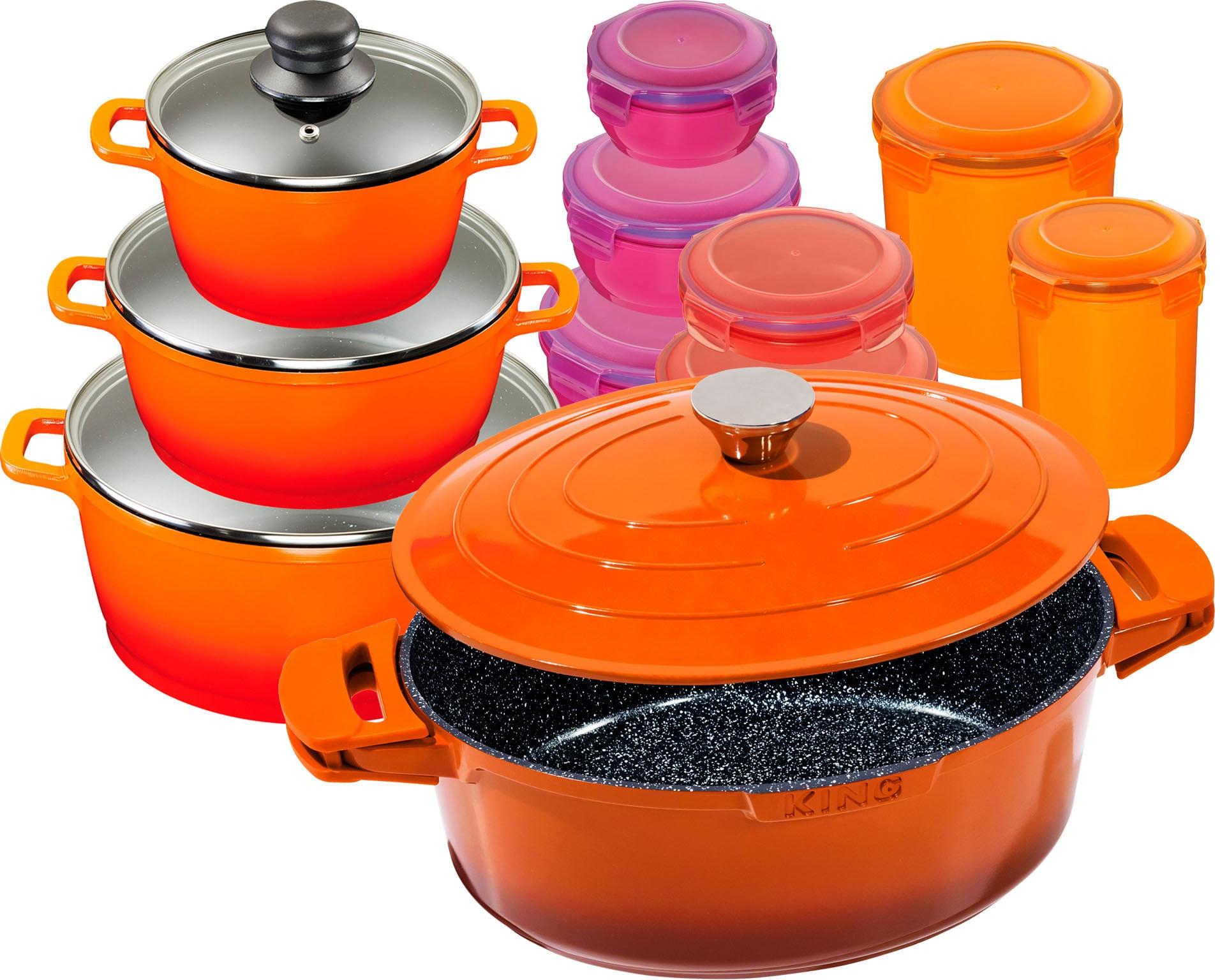 KING Topf-Set Shine Orange, Aluminiumguss, (Set, 11 tlg., 3 Töpfe, Deckel, 1 Bräter m. 7 Dosen), Induktion orange Topfsets Töpfe Haushaltswaren