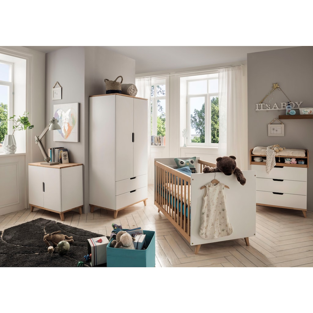 Fantasykids Babyzimmer-Komplettset, (4 St., Bett + Wickelkommode + 2-trg. Schrank + Kommode)