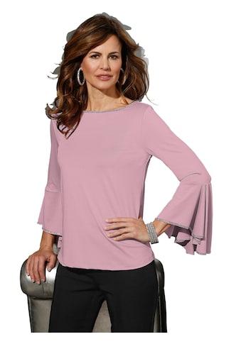 Shirt mit Glitzerband an Ausschnitt und Ärmelabschluss kaufen