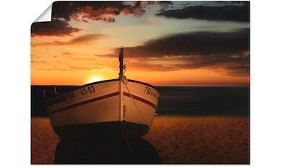 Artland Wandbild »Das Boot im Sonnenuntergang«, Küste, (1 St.), in vielen Größen &... kaufen