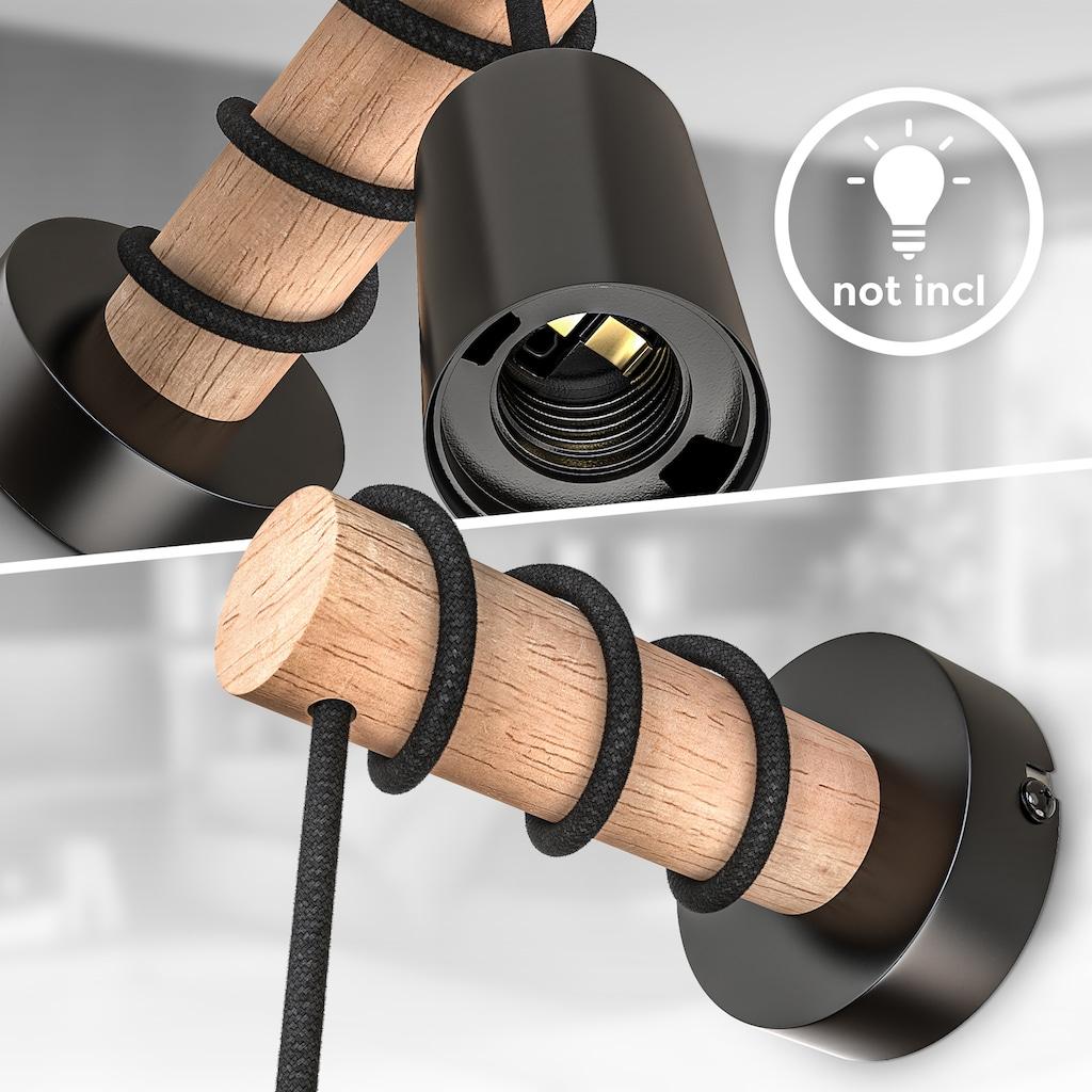B.K.Licht Wandleuchte, E27, 1 St., Wandlampe 1 flammige Vintage Industrial Design Retro Lampe Stahl Holz Rund E27 ohne Leuchtmittel