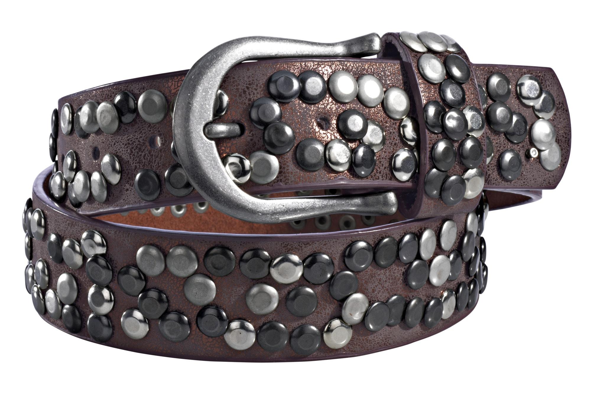 heine Nietengürtel, Mit Metallnieten rot Damen Ledergürtel Gürtel Accessoires Nietengürtel