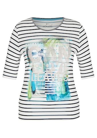 Rabe T-Shirt, mit gestreiftem Muster und Front-Print kaufen