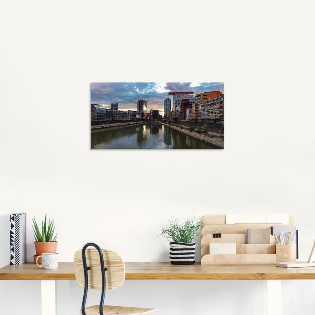 Artland Glasbild »Sonnenuntergang MedienHafen Düsseldorf«, Deutschland, (1 St.)