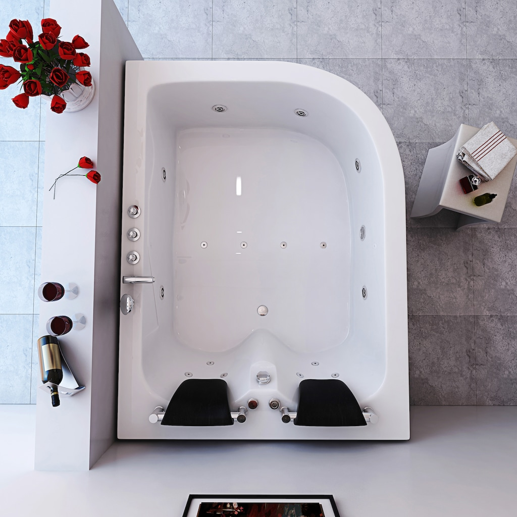 HOME DELUXE Whirlpool-Badewanne »Ancona XL«, B/T/H in cm: 180/120/65, rechts