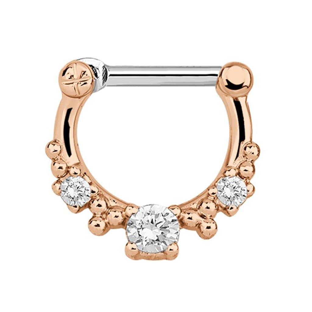 Adelia´s Nasenpiercing »Septum Clicker Nasenpiercing rosegold, 3 klare Steine«, mit 316l Stahlstab als Verschluss Clicker