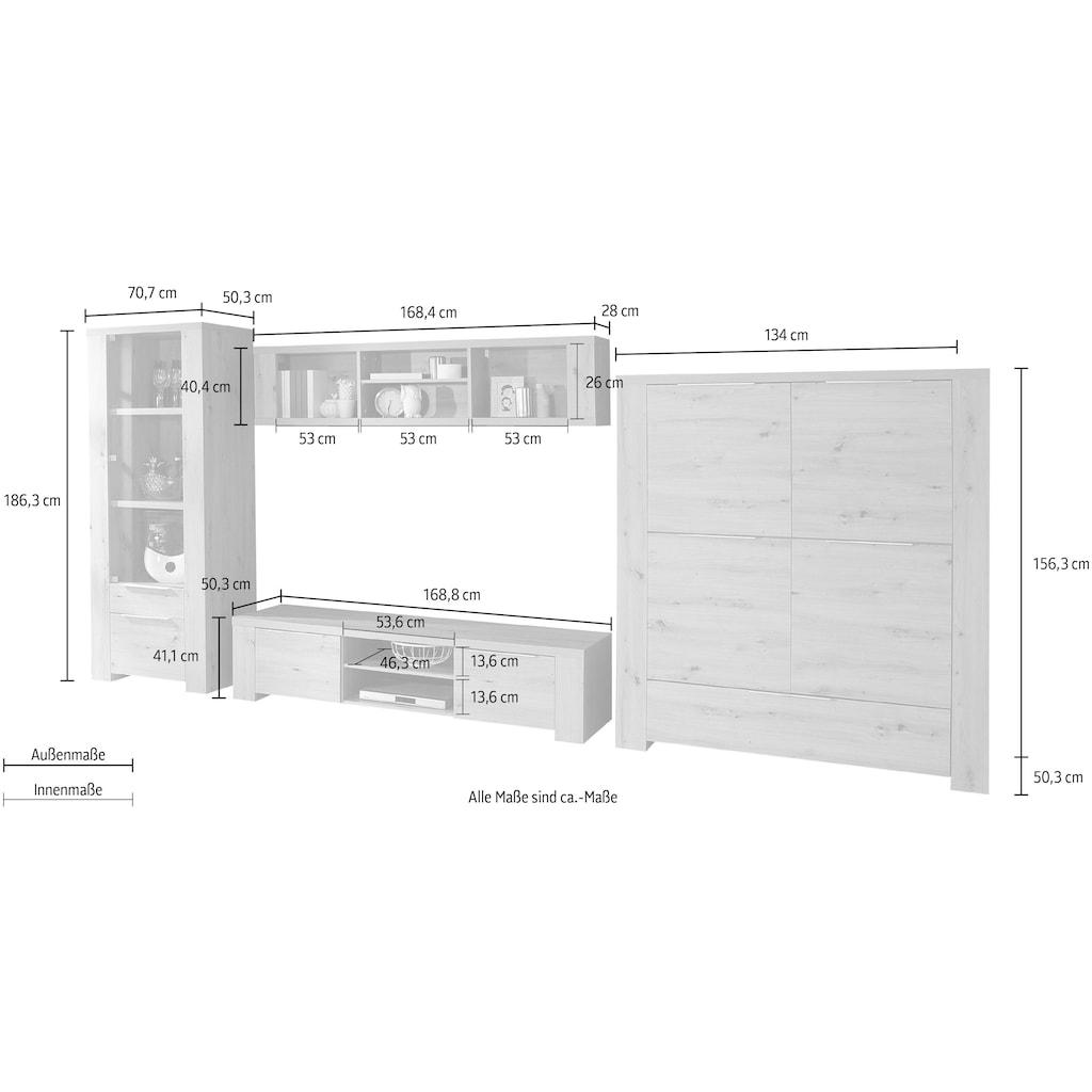 FORTE Wohnwand, (Set, 4 St.), Korpus/ Front aus Holzwerkstoff