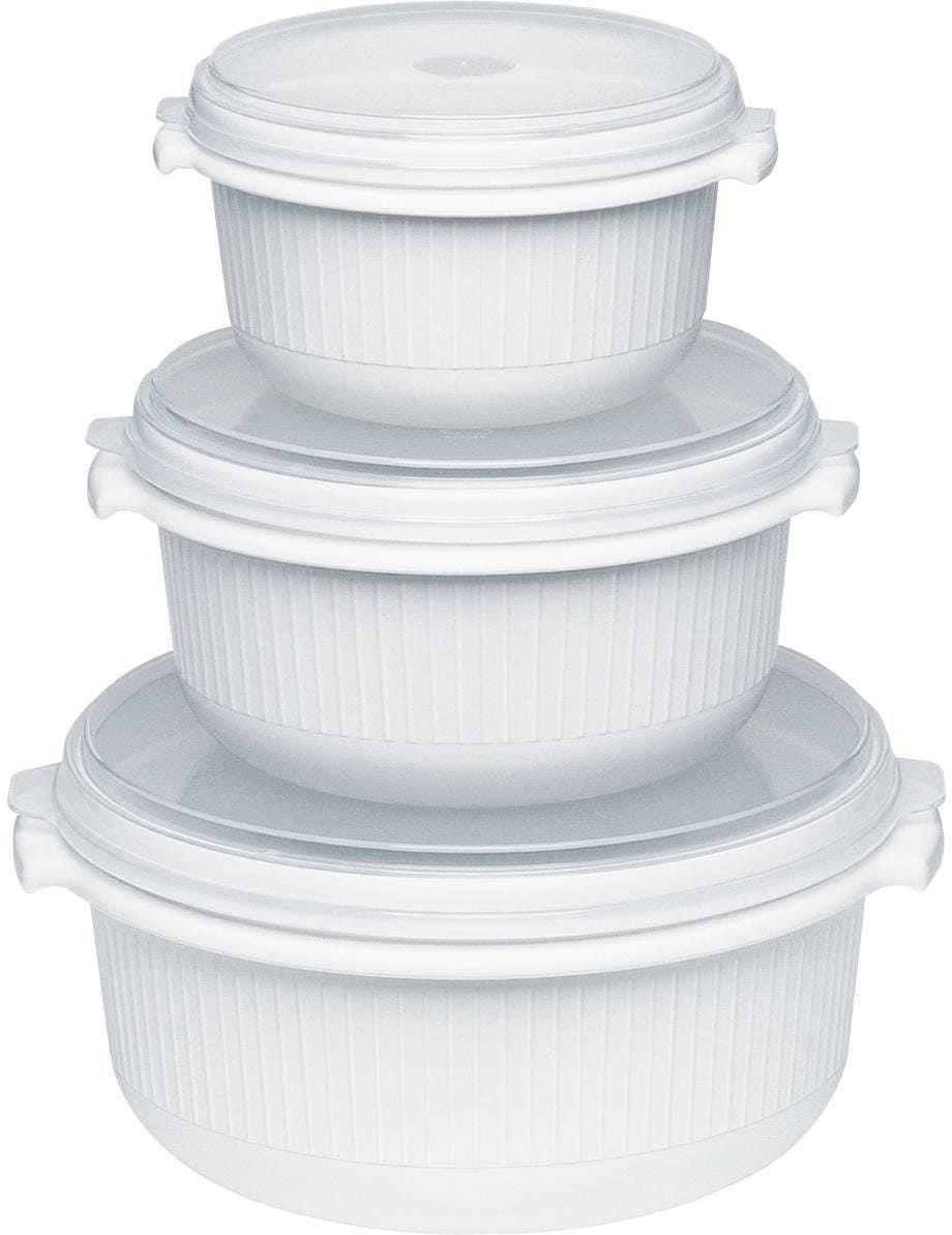Emsa Mikrowellenbehälter Micor Family, (Set, 3 tlg.), 0,5, 1,0, 1,5 Liter weiß Mikrowellengeschirr Kochen Backen Haushaltswaren