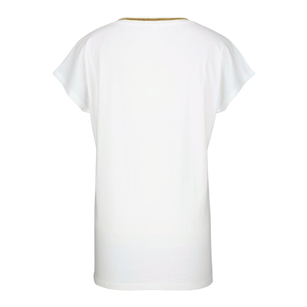 MIAMODA T-Shirt, mit dekorativem Band am Ausschnitt