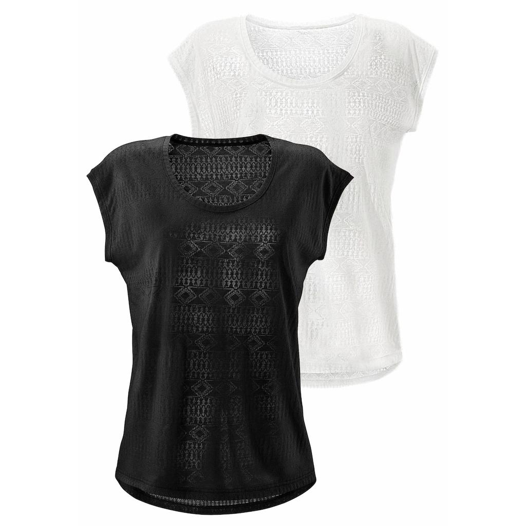 LASCANA T-Shirt, Ausbrenner-Qualität mit leicht transparentem Ethno-Design