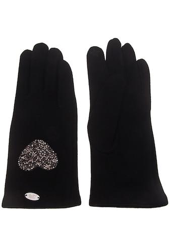 leslii Fingerhandschuhe mit funkelndem Strass-Herz kaufen