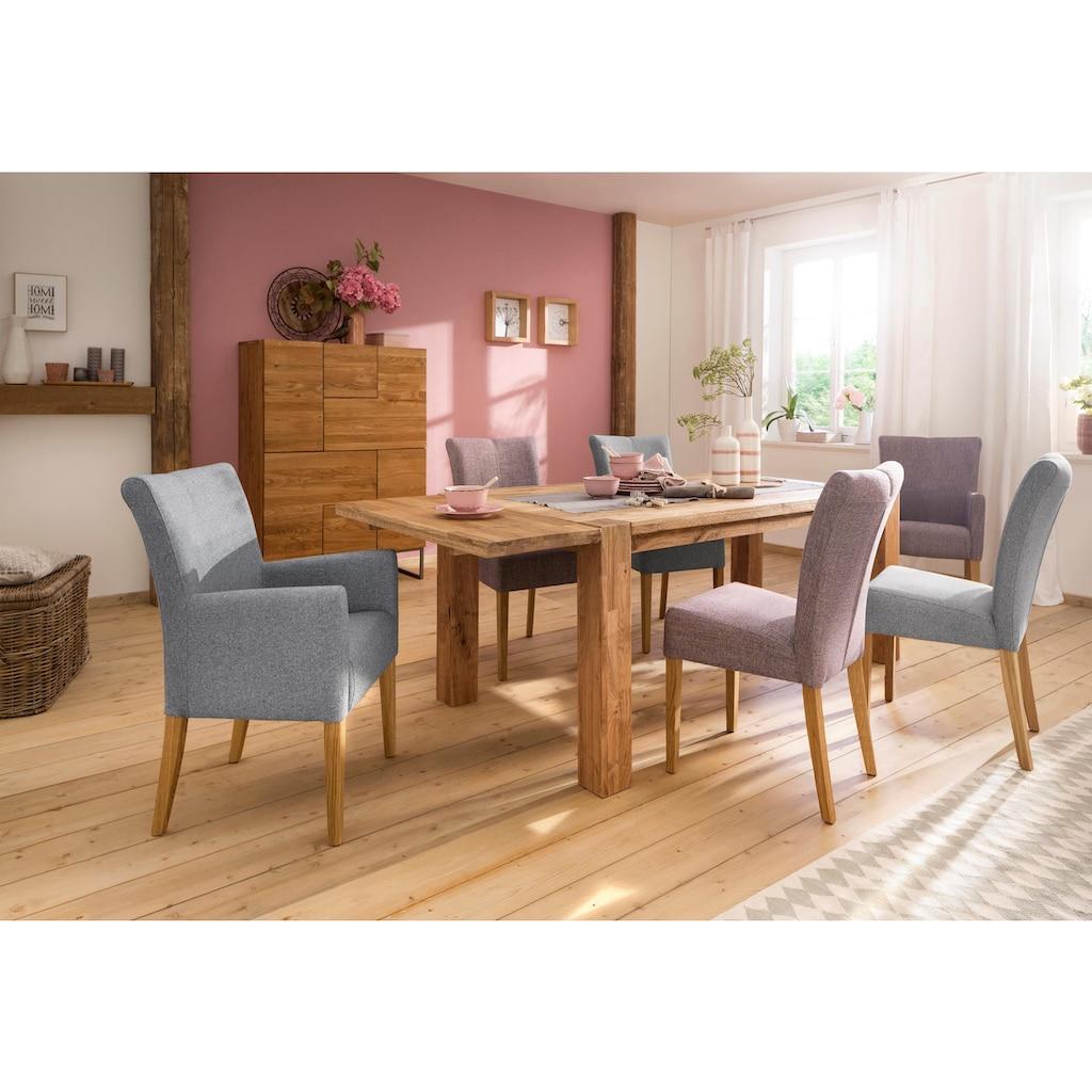 Home affaire Esstisch »Marianne«, aus massiver Wildeiche mit zusätzlich bestellbarer Ansteckplatte