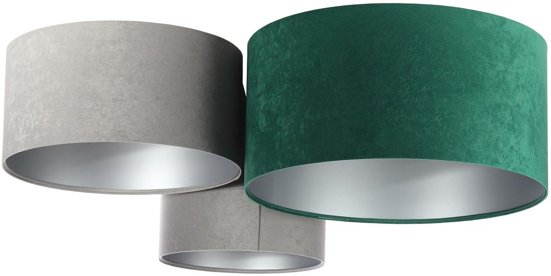 Jens Stolte Leuchten Deckenleuchte Astrid, E27, 4 St., 3flammig, Textildeckenleuchte, grau/grün, 3er Stoffdeckenleuchte grau/grün