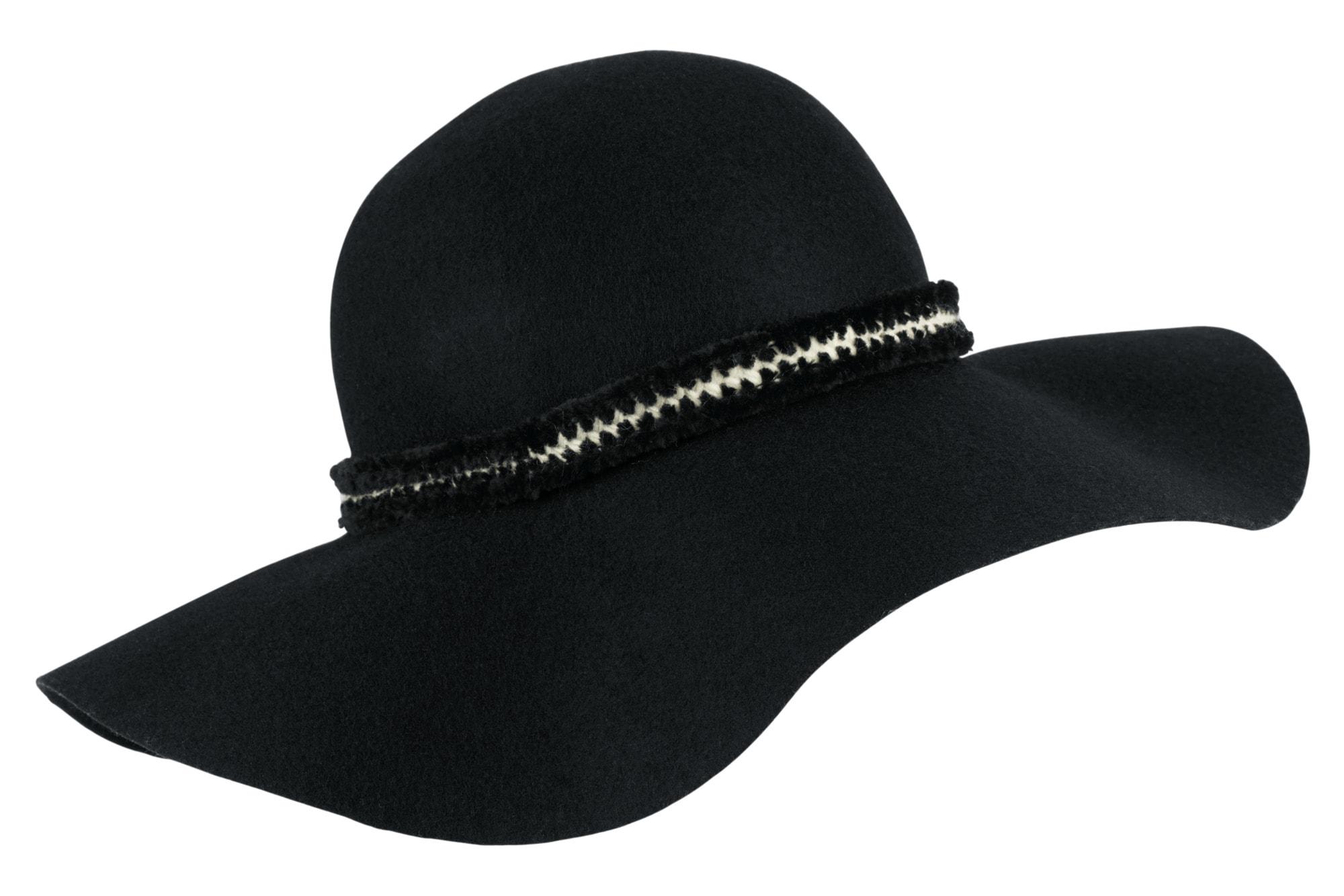 COLLEZIONE ALESSANDRO Hut mit modischem Band | Accessoires > Hüte > Schlapphüte | Schwarz | Wolle | COLLEZIONE ALESSANDRO
