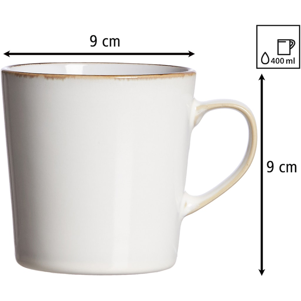 Ritzenhoff & Breker Becher »Kaffeebecher-Set Visby 6tlg, Weiß«, (Set, 6 tlg., Das Set besteht aus 6 Kaffeebechern)
