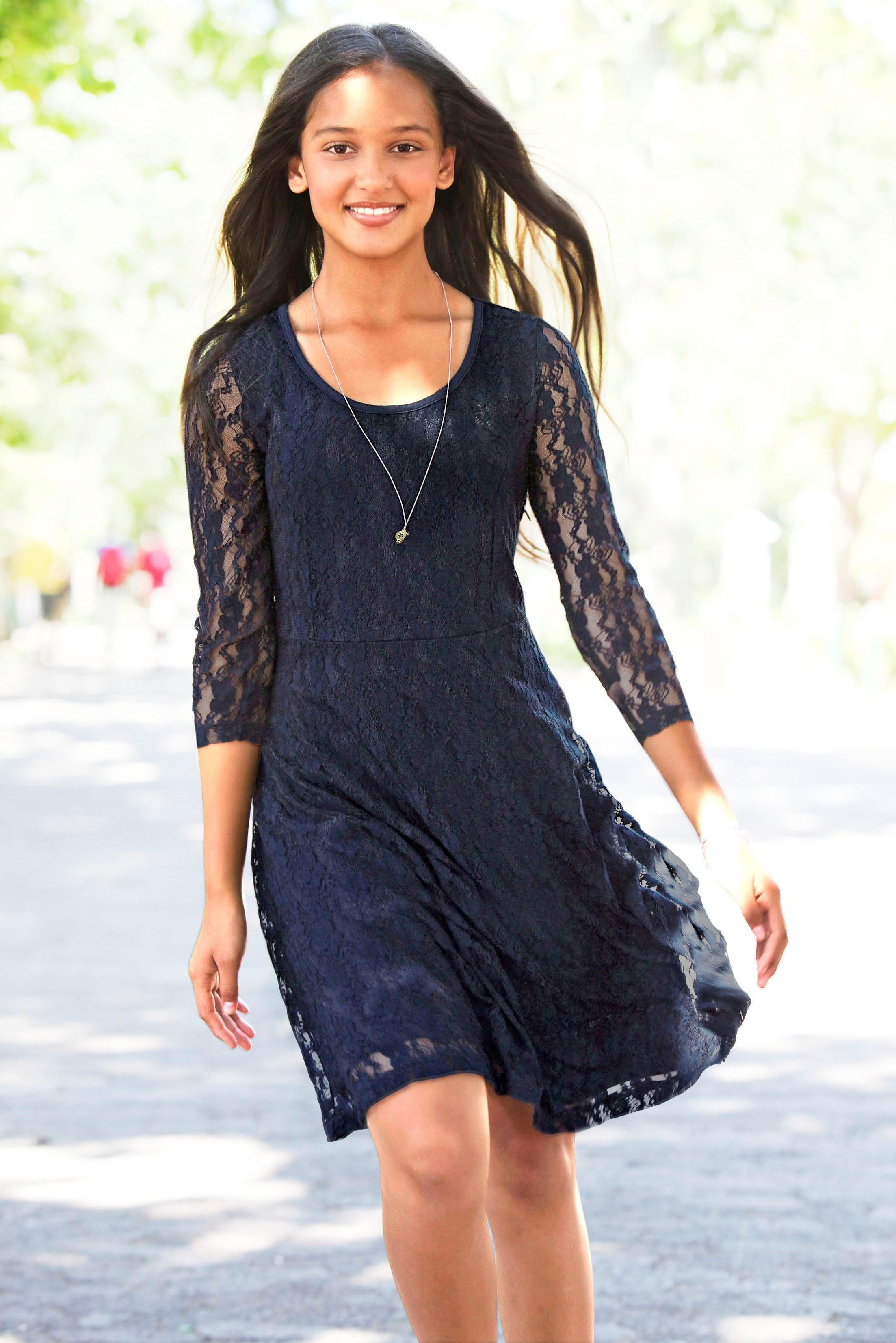 Arizona Spitzenkleid, mit 3/4 Ärmeln blau Mädchen Jerseykleider Kleider Mädchenkleidung Spitzenkleid