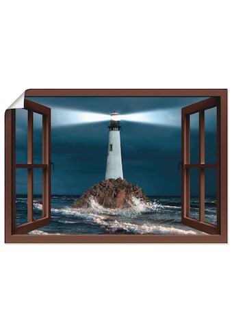 Artland Wandbild »Fensterblick Leuchtturm mit Lichtstrahl«, Gebäude, (1 St.), in... kaufen