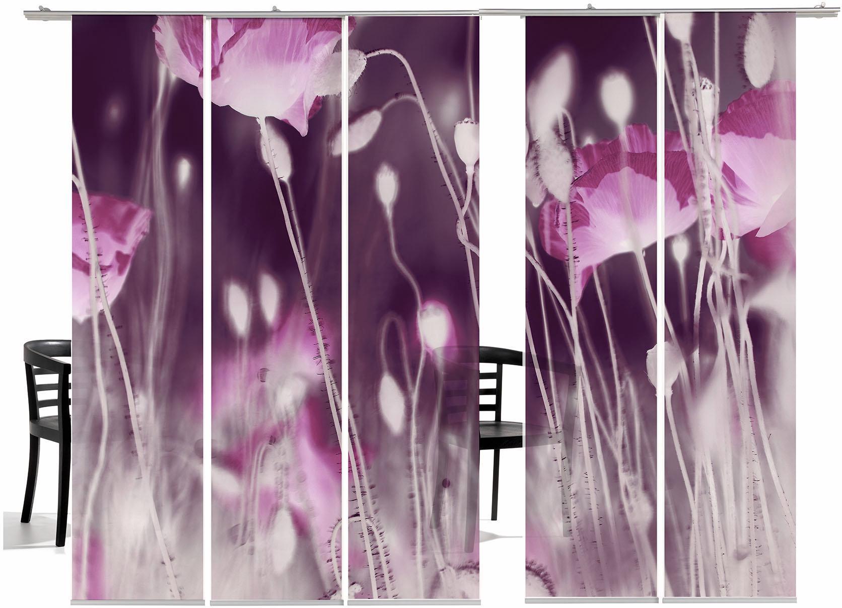 Schiebegardine emotion textiles WilderMohn HA mit Klettband (5 Stück mit Zubehör)
