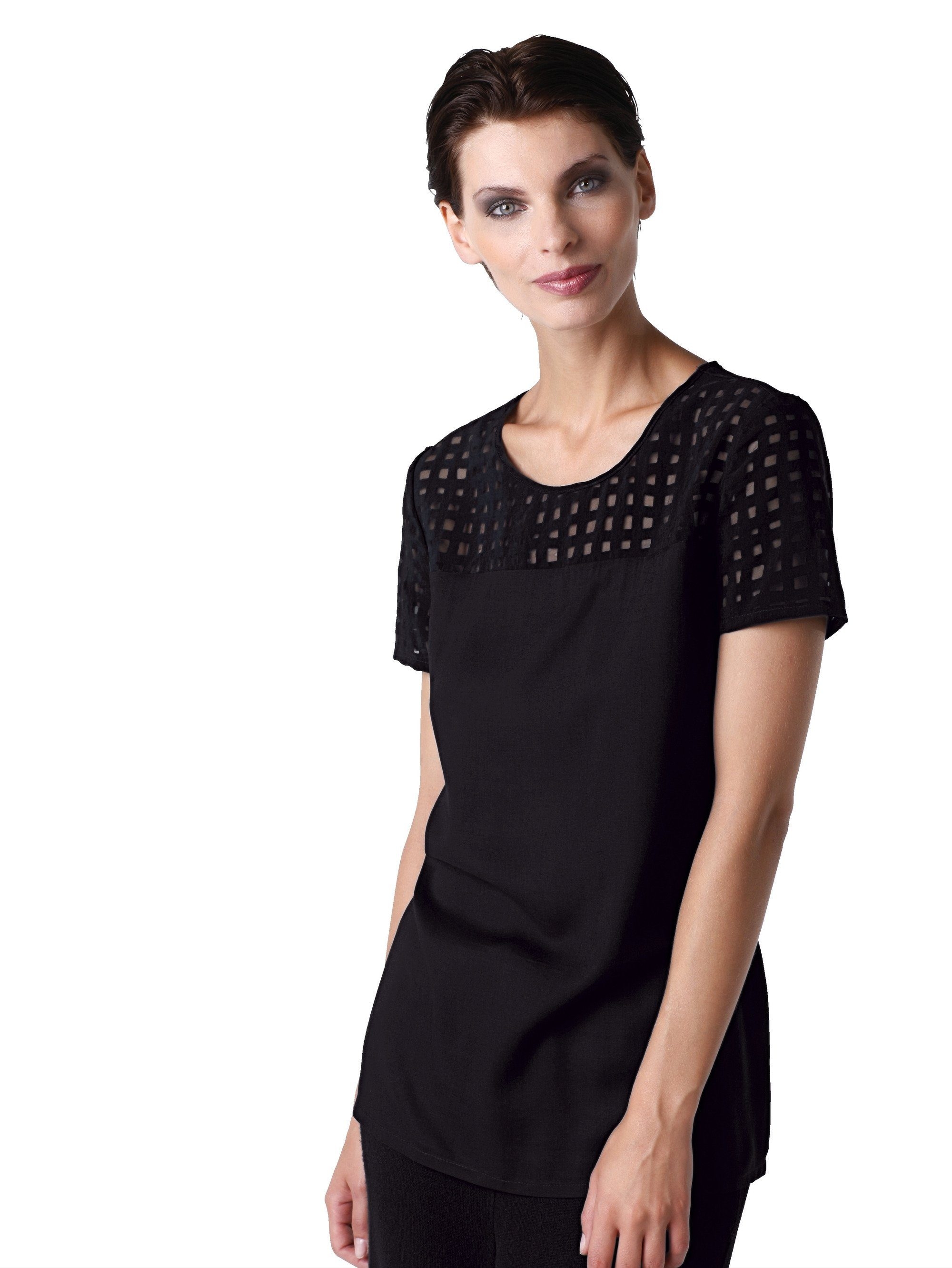 Alba Moda Blusenhirt mit Gitteroptik