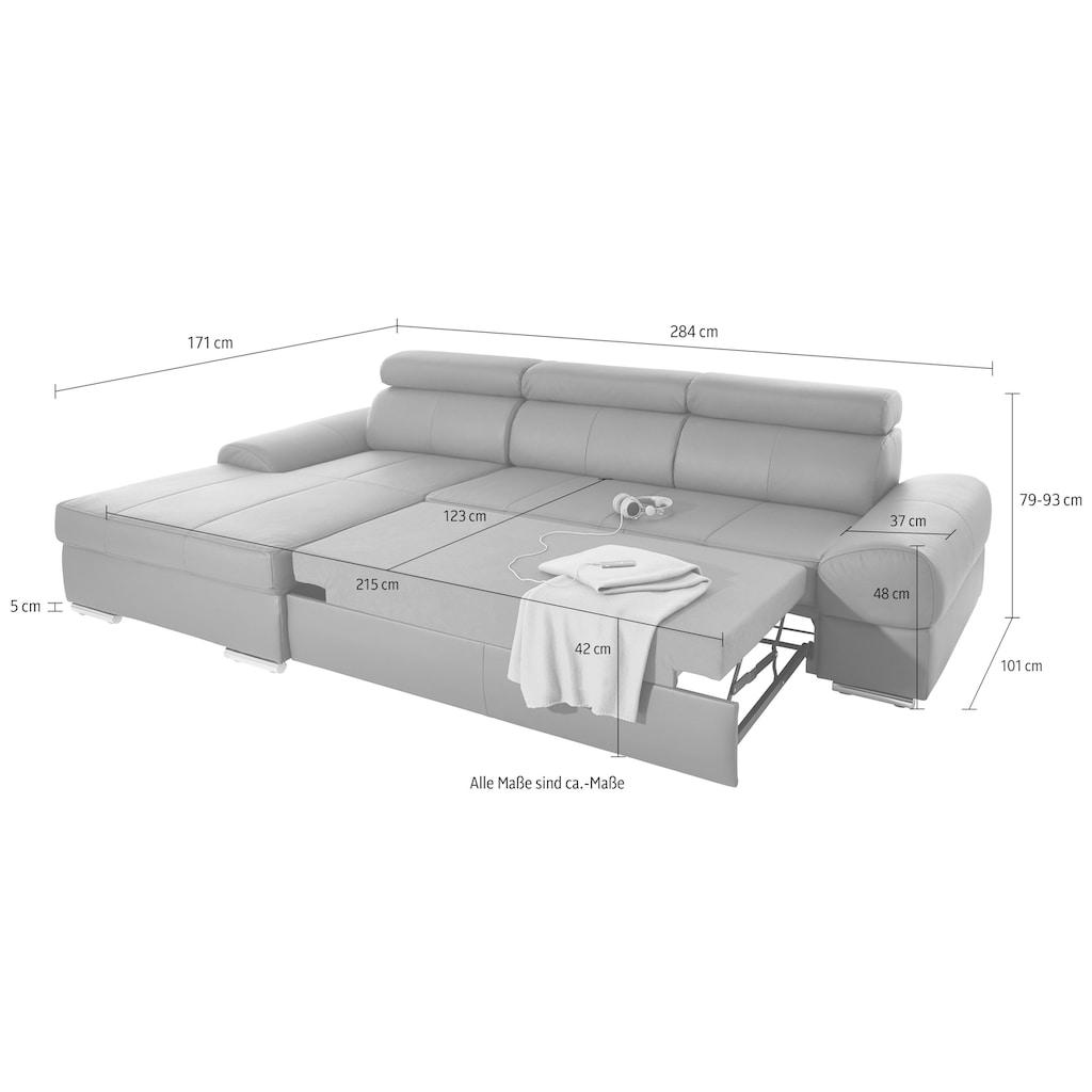 sit&more Ecksofa, mit verstellbaren Kopfteilen, wahlweise mit Bettfunktion