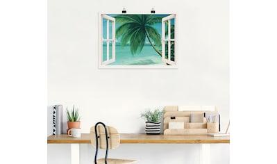 Artland Wandbild »Fensterblick - Palmenstrand«, Fensterblick, (1 St.), in vielen... kaufen