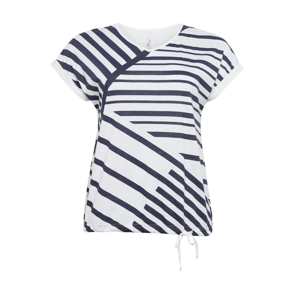 Sheego T-Shirt, mit grafischem Print und Bindeband