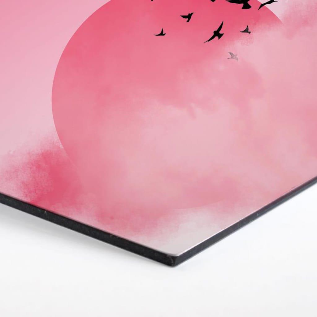 Wall-Art Metallbild »Vogel Sonnenuntergang Pink«, (1 St.)