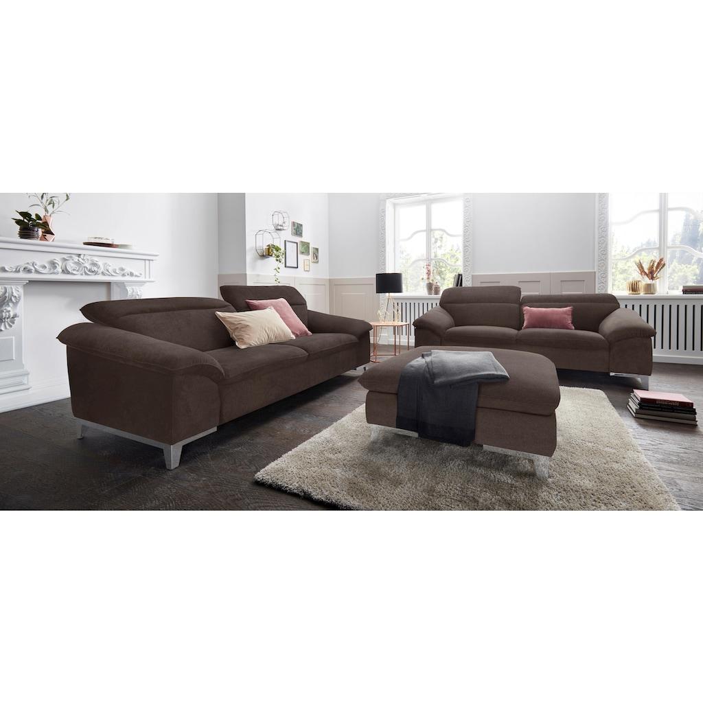 COTTA Polstergarnitur, (Set), Set: bestehend aus 3-Sitzer und Hocker, Sofa inklusive Kopfteilverstellung