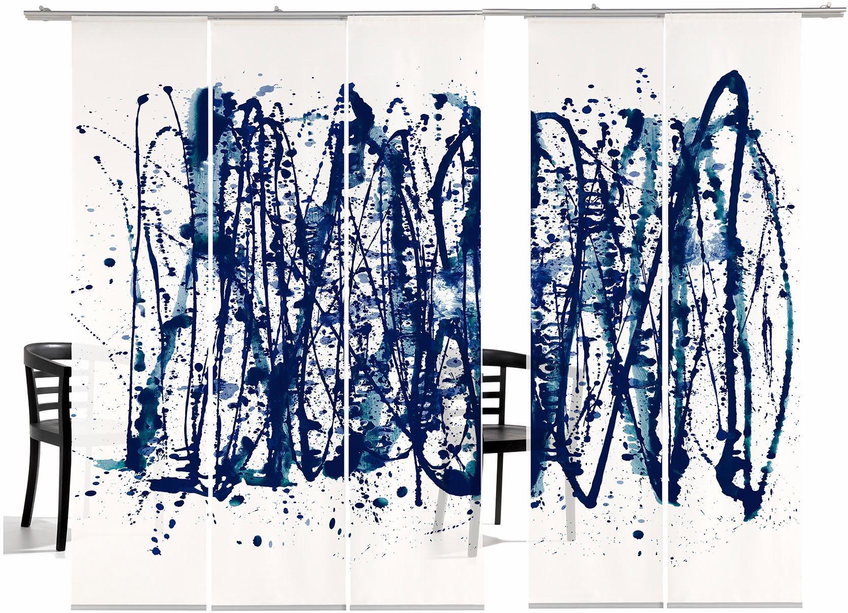 Schiebegardine emotion textiles Ala Polock HA mit Klettband (5 Stück mit Zubehör)