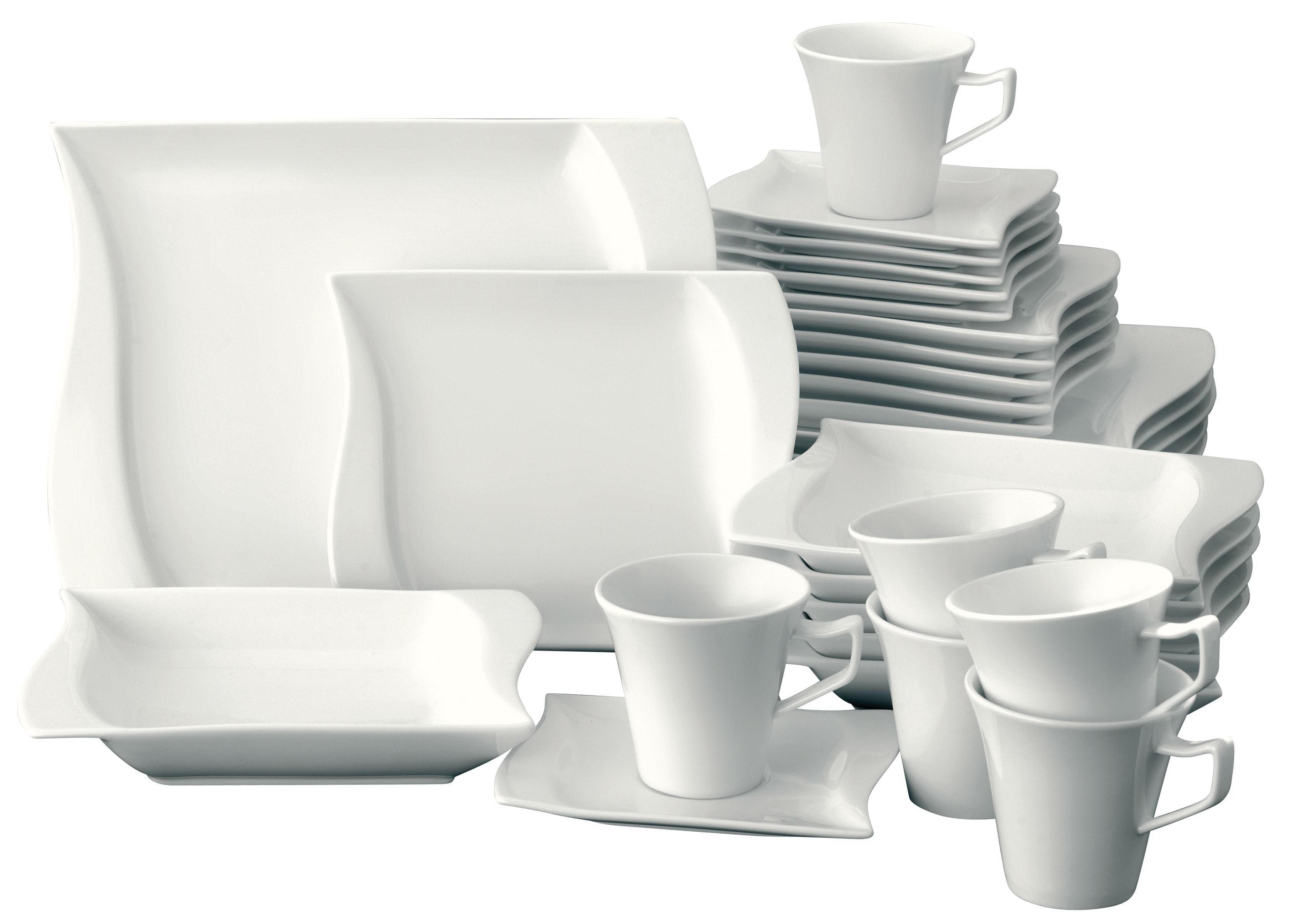 van Well Kombiservice Harmony, (Set, 30 tlg.), Mikrowellengeeignet weiß Geschirr-Sets Geschirr, Porzellan Tischaccessoires Haushaltswaren