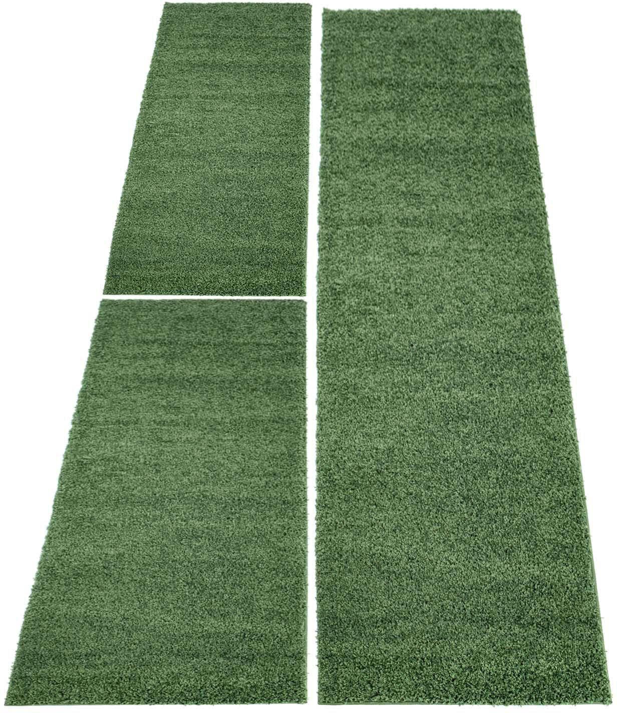 Carpet City Bettumrandung Shaggi uni 500 grün Bettumrandungen Läufer Teppiche