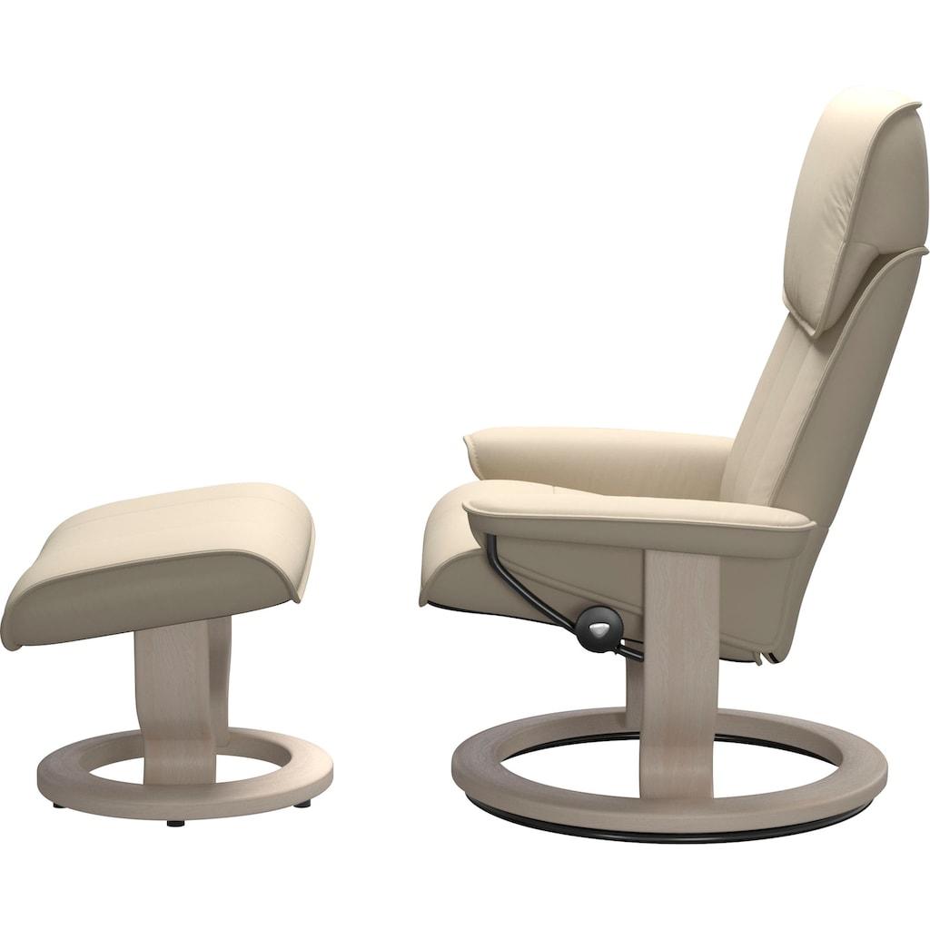 Stressless® Relaxsessel »Admiral«, mit Hocker, mit Classic Base, Größe M & L, Gestell Whitewash