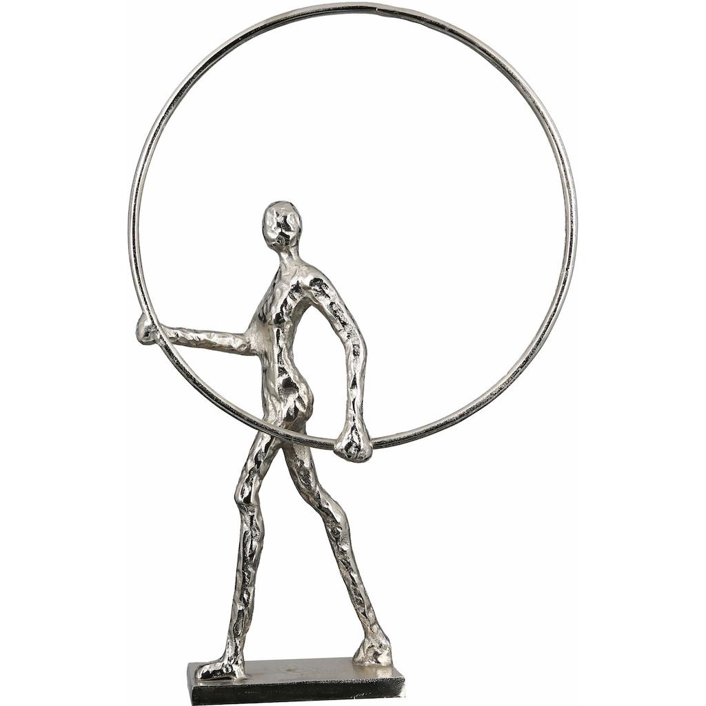 Casablanca by Gilde Dekofigur »Skulptur Gym, antikfinish«, Dekoobjekt, Höhe 34 cm, aus Aluminium vernickelt, gold- oder silberfarben, Wohnzimmer