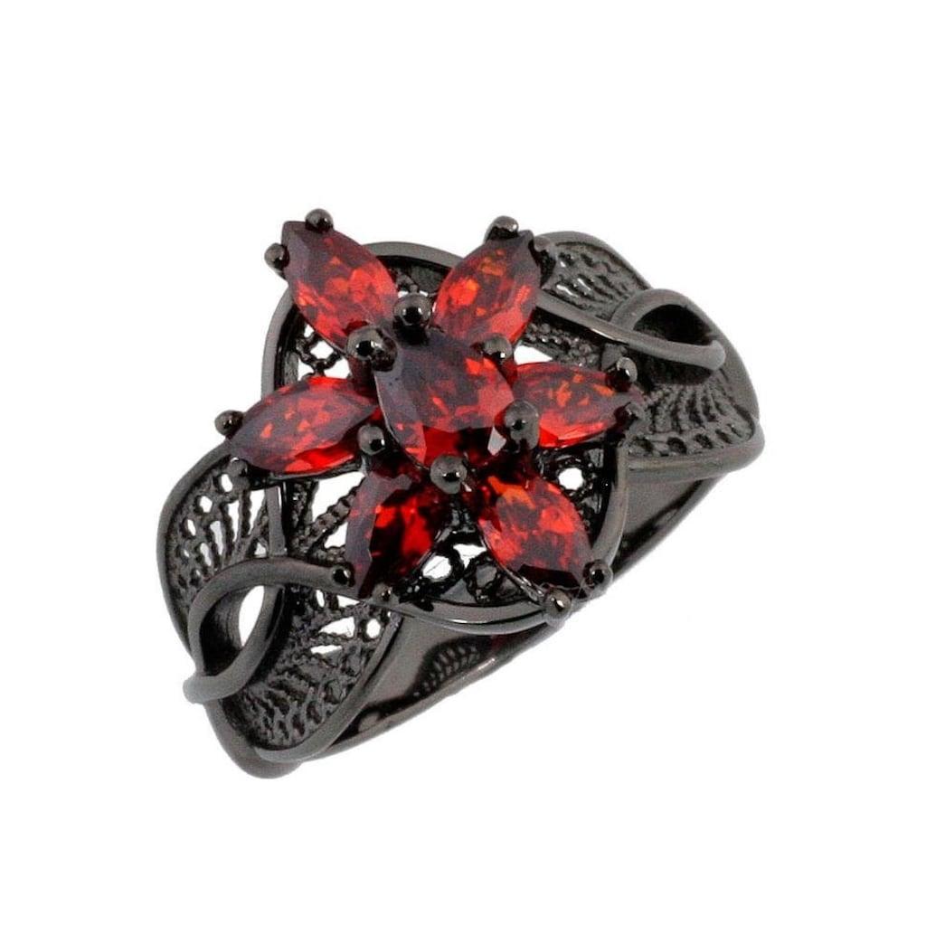 Der Herr der Ringe Fingerring »Dark Years Collection Arwens Abendstern Filigran - schwarz rot, 20003786«, Made in Germany - mit Zirkonia (synth.)