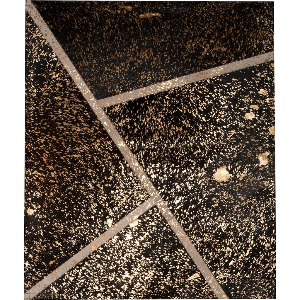 Trendline Fellteppich »Marbella«, rechteckig, 3 mm Höhe, handgenäht, echtes Rinderfell mit goldfarbenen Akzenten, Wohnzimmer